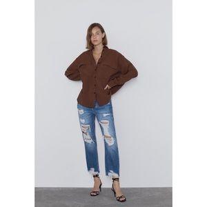 Zara High Rise Ripped Jean